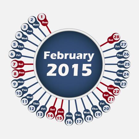 red ribbon week: Vector rounded calendar 2015 February template for design Illustration