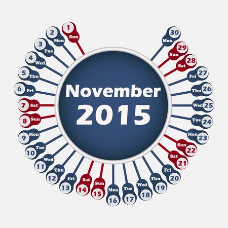 red ribbon week: Vector rounded calendar 2015 November template for design