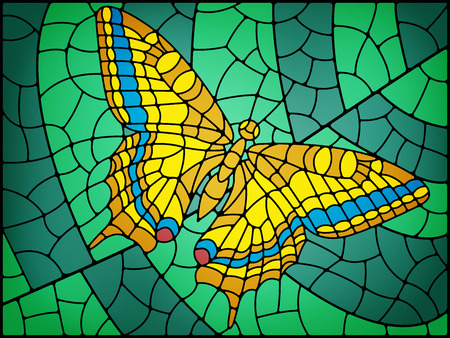 Stained glass butterfly abstract background in yellow and green tones