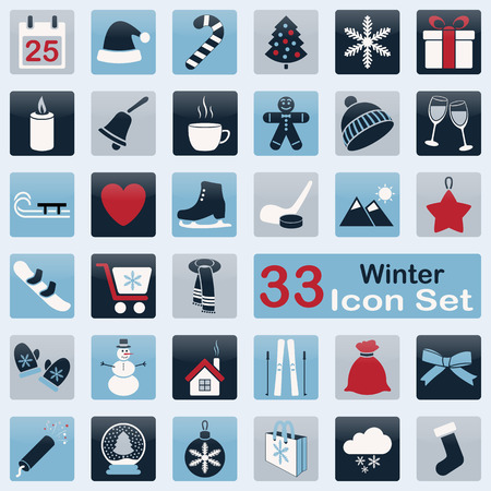Set of winter icons for web and app design Vector
