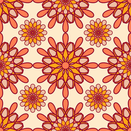 Abstract seamless pattern. Vector illustration in yellow, red and orange tones Illustration