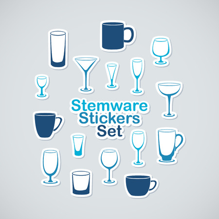 stemware: Set of stemware icon stickers far app and web design