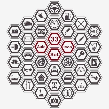 Polygon auto icon set for app and web design