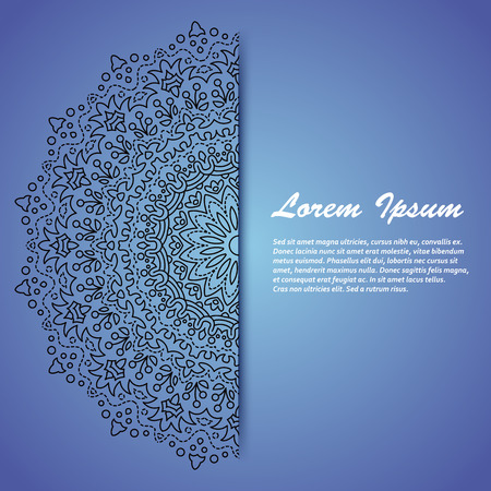 notebook cover: A card with a place for your text with oriental motives, border and a circle ornament, great as a birthday postcard, greeting card, wedding invitation, notebook cover, etc Illustration
