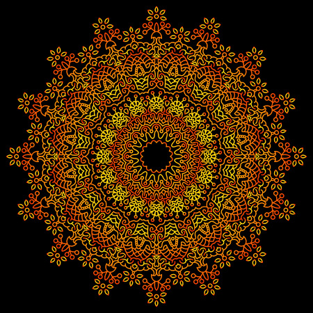 decorative design: Vintage decorative elements. Background in red, yellow and black tones