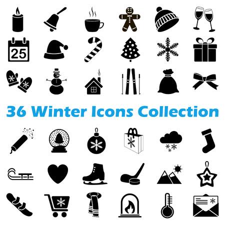 Vector zwarte winter icoon collectie op witte achtergrond Stockfoto - 68881986