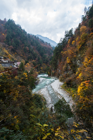 Autumn Stream with Mountain, Japan