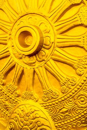 dhamma: Thammachak, Symbol of the Buddhist dhamma  Stock Photo
