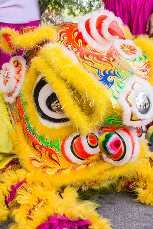 expel: Men take the Chinese lion dance on  the Chinese New Year,And good luck  ,expel evil