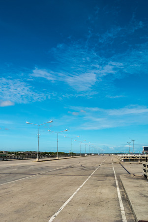 empty road: Scenery on empty road, bluesky background  Stock Photo