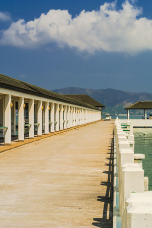 bluesky: walkway to the pier on bluesky background.