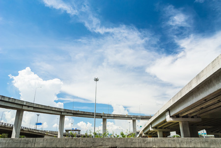tollway: road and expess way on blue sky background.