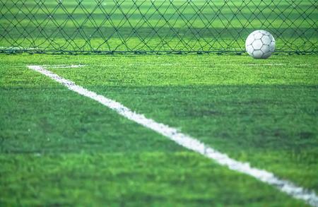 white line: Corner , field line and artificial grass. Stock Photo