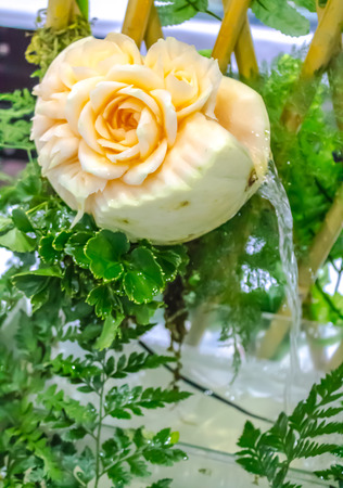 Cantaloupe  fruit carving in the garden on table sets. photo