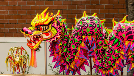 dragon chinois: Chinese Dragon head pieces used in dances for traditional celebration.