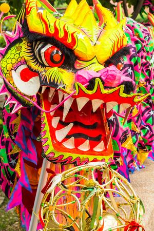 baile: Piezas chinas de la cabeza del dragón utilizados en los bailes de celebración tradicional. Foto de archivo