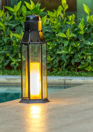 garden lamp: Garden light in the home garden. Stock Photo