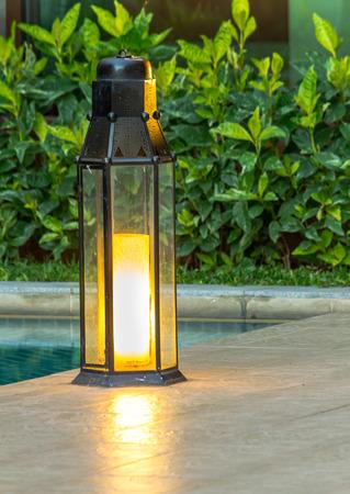 garden lamp: Garden light in the home garden. Stock Photo