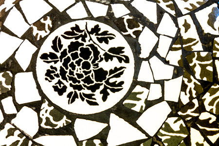 delftware: Porcelain tile style black and white flower. Stock Photo
