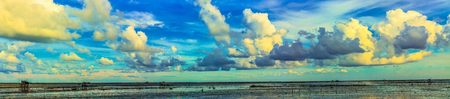 wetland: Panorama of coast line with cloudscape and low tide sea on summerday. Stock Photo