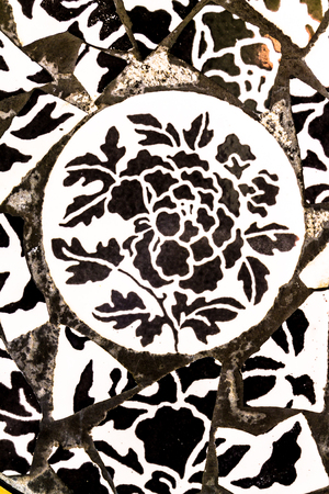 porcelain flower: Porcelain tile style black and white flower. Stock Photo