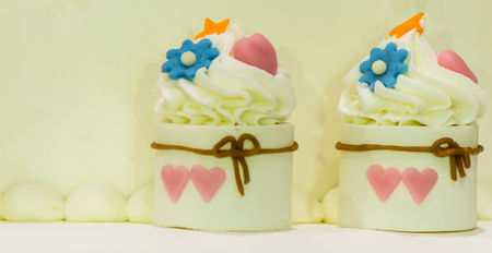 Sweet beauty flower and topping pastel color on wedding cake decoration. Stock Photo