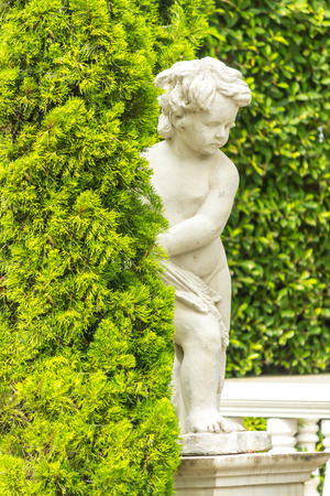 Statue of Cupid in cozy garden on summer. Stock Photo