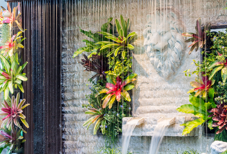 Concept en idee waterval met Standbeeld Cupido en leeuw in gezellige tuin.