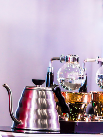Siphon Coffee or Vacuum Coffee is full immersion tasteful, Blended smell and taste of roasted coffee with direct contact boiled water. Stock Photo