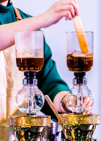 Syphon Coffee or Vacuum Coffee is full immersion tasteful, Blended smell and taste of roasted coffee with direct contact boiled water and show Mix coffee beans into boiling water and stir 10 time.