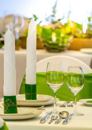 Beauty thai silk napkin on dish for decoration table in luxury dinner.