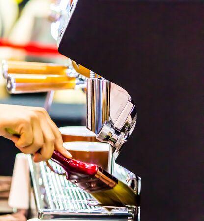 Showcase Barista making Latte art coffee and Barista cleaning Espresso machine by brush.