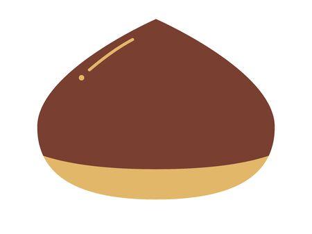 A simple deformed illustration of chestnut fruit.