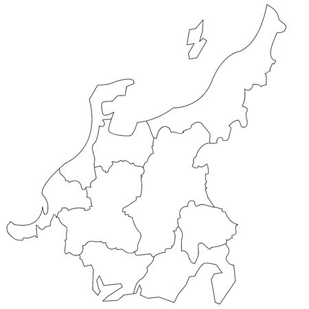 Map of White Japan by Block in the Chubu Region