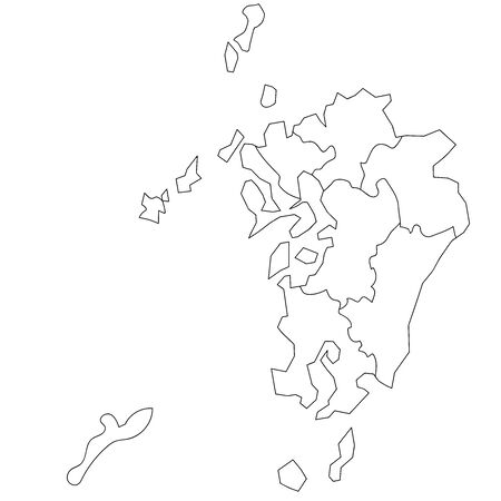 Map of White Japan by Block in Kyushu and Okinawa