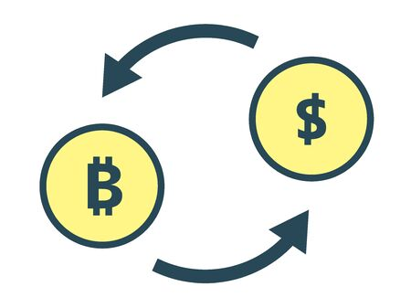 An image of exchanging bitcoin and dollars. E-commerce. 向量圖像