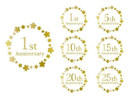 Anniversary Emblem Cherry Blossoms Golden  イラスト・ベクター素材