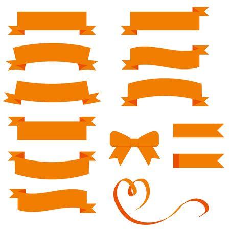 Various orange ribbon material sets.
