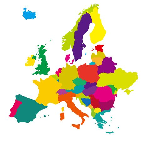 World map illustration material, Europe. colorful.