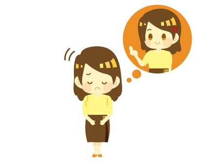 Illustration of a Woman Who Is Furious at Heart. Raise the middle finger. 일러스트