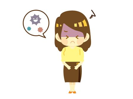Illustration of a Woman Suffering from Stomachache Due to Food Poisoning.
