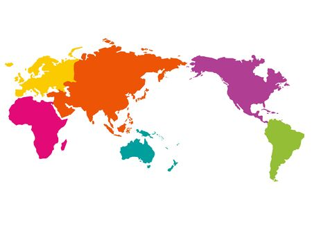 Illustration of a world map with colors for each area.