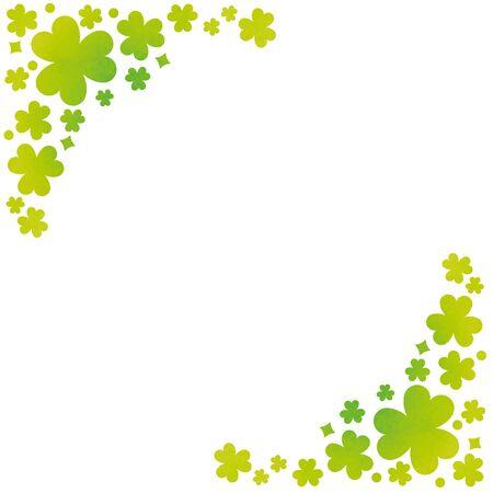 Trefoil clover, plant frame rectangle. Two corner design. Vetores
