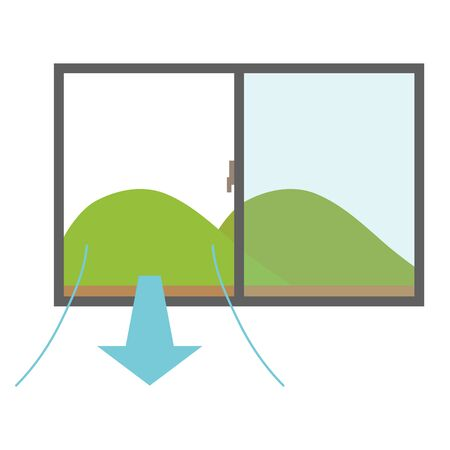 Illustration of ventilating with open windows.