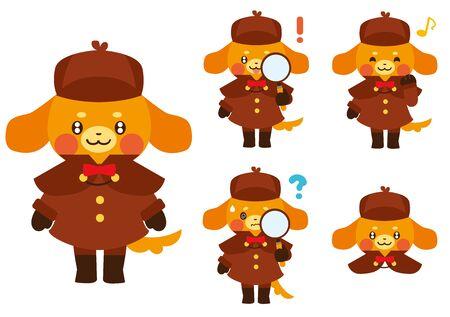 Dog Detective Character  イラスト・ベクター素材