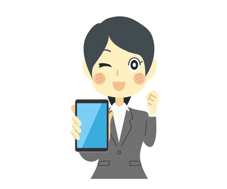 Woman with smartphone in hand. Sales and solicitation.