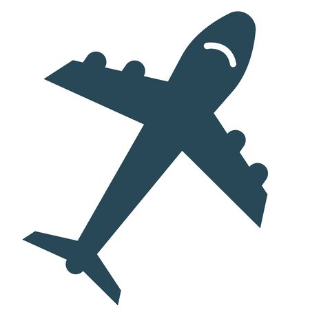 Simple blue airplane silhouette illustration. Vectores
