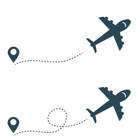 A dotted line connecting a simple airplane and the current location.