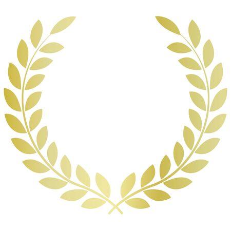 Laurel emblem material. Golden gradation.