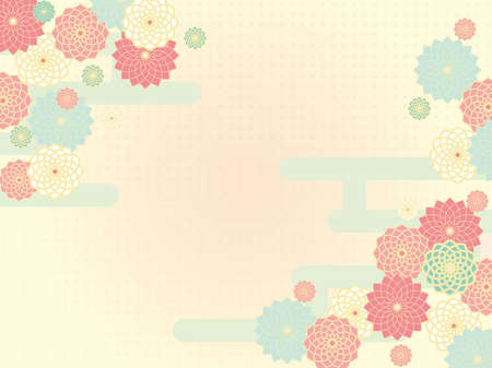 Floral background material. Japanese style, pink. Image of spring.